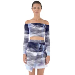 Thunder And Lightning Weather Clouds Painted Cartoon Off Shoulder Top With Skirt Set