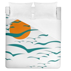 Sunset Glow Sun Birds Flying Duvet Cover (queen Size) by AnjaniArt