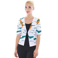 Sunset Glow Sun Birds Flying Cropped Button Cardigan