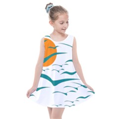 Sunset Glow Sun Birds Flying Kids  Summer Dress by AnjaniArt