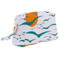 Sunset Glow Sun Birds Flying Wristlet Pouch Bag (large)