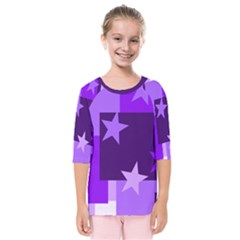 Purple Stars Pattern Shape Kids  Quarter Sleeve Raglan Tee