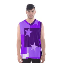 Purple Stars Pattern Shape Men s Basketball Tank Top