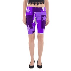 Purple Stars Pattern Shape Yoga Cropped Leggings