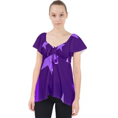 Purple Stars Pattern Shape Lace Front Dolly Top