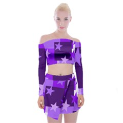 Purple Stars Pattern Shape Off Shoulder Top With Mini Skirt Set