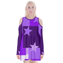 Purple Stars Pattern Shape Velvet Long Sleeve Shoulder Cutout Dress