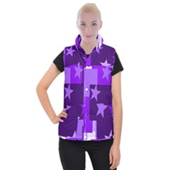 Purple Stars Pattern Shape Women s Button Up Vest by Alisyart