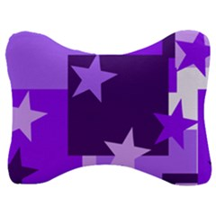 Purple Stars Pattern Shape Velour Seat Head Rest Cushion
