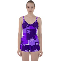 Purple Stars Pattern Shape Tie Front Two Piece Tankini