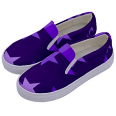Purple Stars Pattern Shape Kids  Canvas Slip Ons by Alisyart