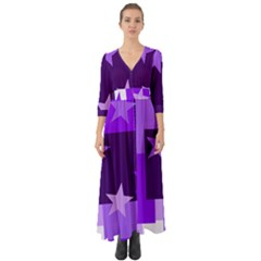 Purple Stars Pattern Shape Button Up Boho Maxi Dress by Alisyart