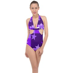 Purple Stars Pattern Shape Halter Front Plunge Swimsuit