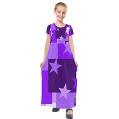 Purple Stars Pattern Shape Kids  Short Sleeve Maxi Dress