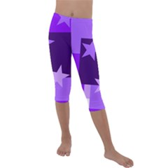 Purple Stars Pattern Shape Kids  Lightweight Velour Capri Leggings