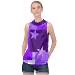 Purple Stars Pattern Shape High Neck Satin Top