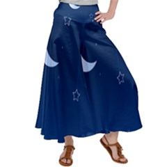 Night Moon Star Background Satin Palazzo Pants by Jojostore