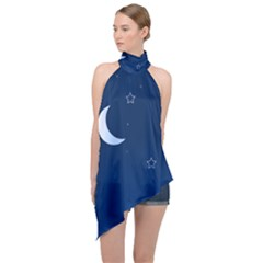 Night Moon Star Background Halter Asymmetric Satin Top by Jojostore