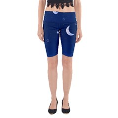 Night Moon Star Background Yoga Cropped Leggings