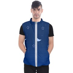 Night Moon Star Background Men s Puffer Vest