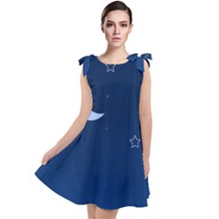 Night Moon Star Background Tie Up Tunic Dress