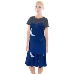Night Moon Star Background Camis Fishtail Dress