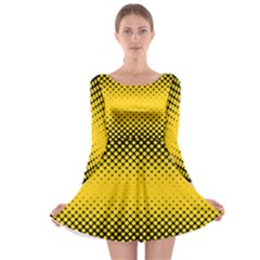 Dot Halftone Pattern Vector Long Sleeve Skater Dress