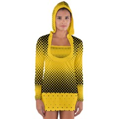 Dot Halftone Pattern Vector Long Sleeve Hooded T Shirt