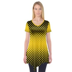 Dot Halftone Pattern Vector Short Sleeve Tunic