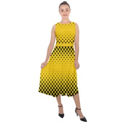 Dot Halftone Pattern Vector Midi Tie Back Chiffon Dress