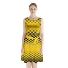 Dot Halftone Pattern Vector Sleeveless Waist Tie Chiffon Dress