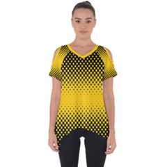 Dot Halftone Pattern Vector Cut Out Side Drop Tee