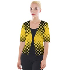 Dot Halftone Pattern Vector Cropped Button Cardigan