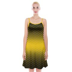Dot Halftone Pattern Vector Spaghetti Strap Velvet Dress