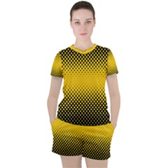 Dot Halftone Pattern Vector Women s Tee And Shorts Set
