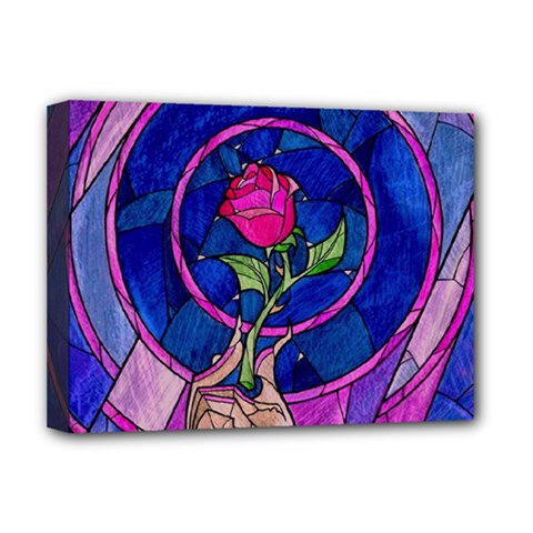 Enchanted Rose Stained Glass Deluxe Canvas 16  X 12  (stretched)