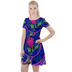 Enchanted Rose Stained Glass Cap Sleeve Velour Dress