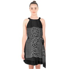 Grayscale Joy Division Graph Unknown Pleasures Halter Collar Waist Tie Chiffon Dress