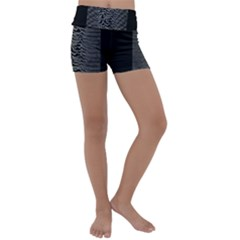 Grayscale Joy Division Graph Unknown Pleasures Kids  Lightweight Velour Yoga Shorts