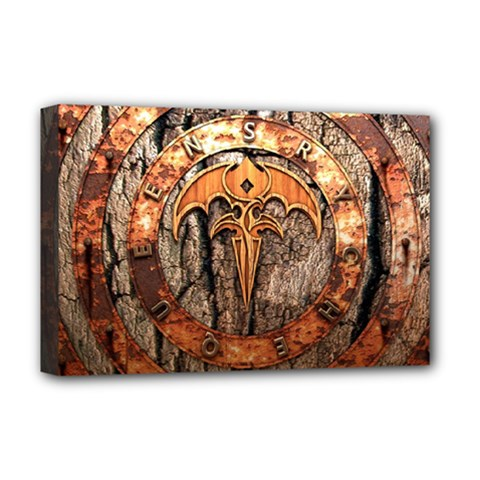 Queensryche Heavy Metal Hard Rock Bands Logo On Wood Deluxe Canvas 18  X 12  (stretched)