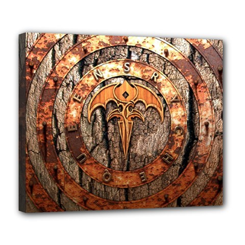Queensryche Heavy Metal Hard Rock Bands Logo On Wood Deluxe Canvas 24  X 20  (stretched)