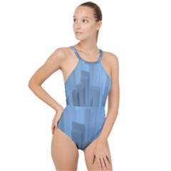 City Contemporary Modern Futuristic High Neck One Piece Swimsuit
