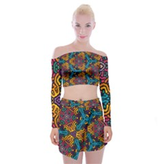 Grubby Colors Kaleidoscope Pattern Off Shoulder Top With Mini Skirt Set by Pakrebo