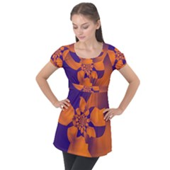 Digital Art Art Artwork Abstract Puff Sleeve Tunic Top by Pakrebo