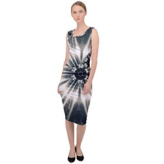 Abstract Fractal Pattern Lines Sleeveless Pencil Dress