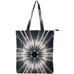 Abstract Fractal Pattern Lines Double Zip Up Tote Bag