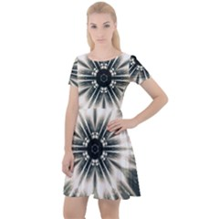 Abstract Fractal Pattern Lines Cap Sleeve Velour Dress