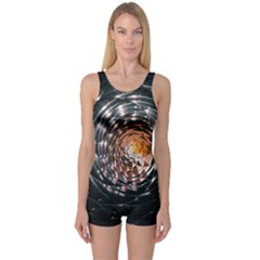 Abstract Fractal Pattern Galaxy One Piece Boyleg Swimsuit
