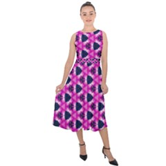 Digital Art Art Artwork Abstract Midi Tie Back Chiffon Dress