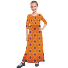 Texture Background Pattern Kids  Quarter Sleeve Maxi Dress